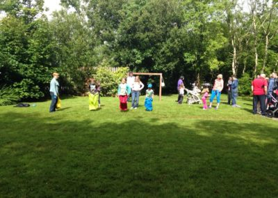 Sack race in Benwiskin Centre gardens