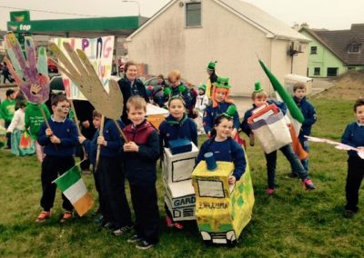 Beavers in homemade methods of transport for St Patricks Day Parade Bundoran