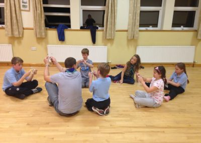 Cubs learning knots in Benwiskin Centre