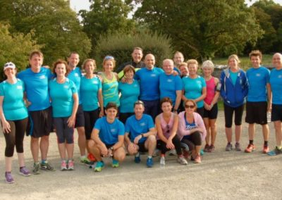 Tralua Trail running team posing for photo outside Markree Castle