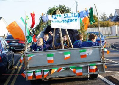 Beavers & Cubs in back of trailer at Bundoran St Patricks Day parade