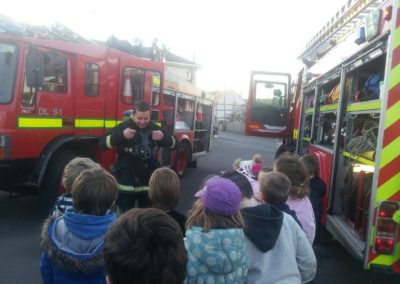 Beaver scouts having standing by fire engine Bundoran with fireman