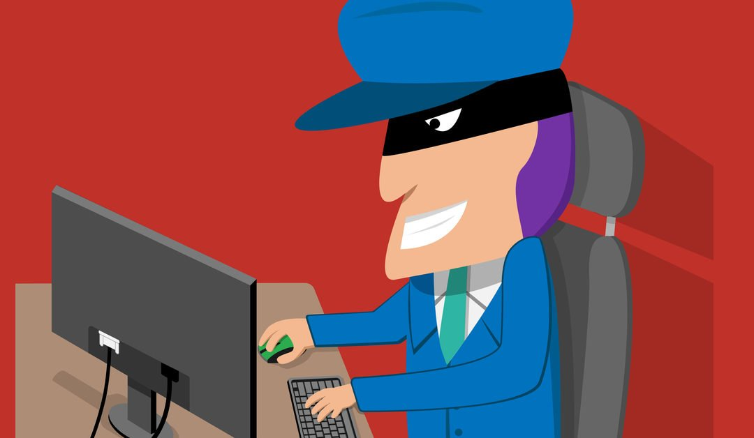 Cartoon character of hacker on pc